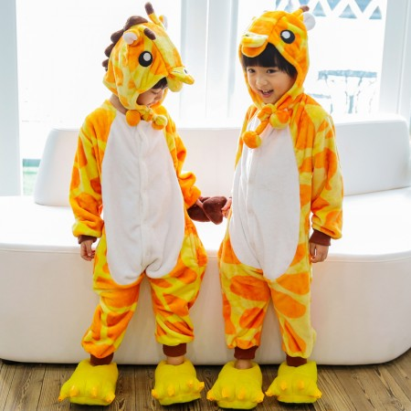 Kids Giraffe Onesie Costume Pajama for Boys & Girls With Hood