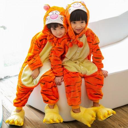 Kids Winnie The Pooh Tigger Onesie Costume Pajama for Boys & Girls With Hood