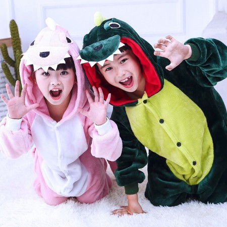 Kids Green and Pink Dinosaur Onesie Costume Pajama for Boys & Girls