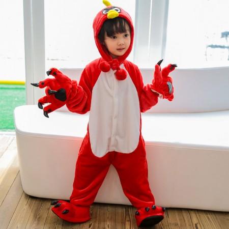 Kids Red Bird Onesie Costume Pajama for Boys & Girls With Hood