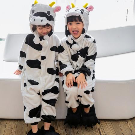 Kids Cow Onesie Costume Pajama for Boys & Girls With Hood
