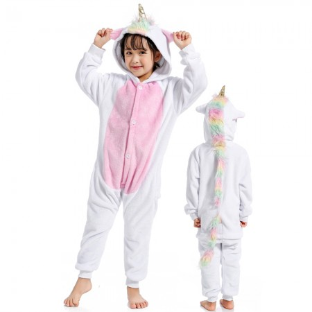 Rainbow Tail Unicorn Onesie Costume Pajama Kids Animal Outfit for Boys & Girls