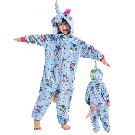 Rainbow Tail Blue Unicorn Onesie Costume Pajama Kids Animal Outfit for Boys & Girls