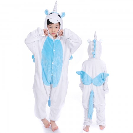 Blue Pegasus Unicorn Onesie Costume Pajama Kids Animal Outfit for Boys & Girls