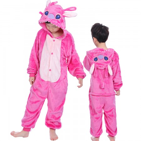 Pink Stitch Onesie Costume Pajama Kids Animal Outfit for Boys & Girls