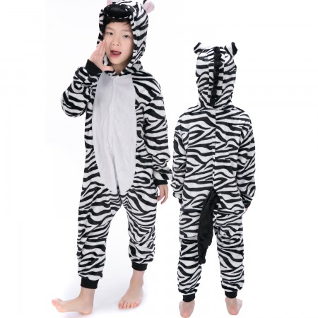 Zebra Onesie Costume Pajama Kids Animal Outfit for Boys & Girls