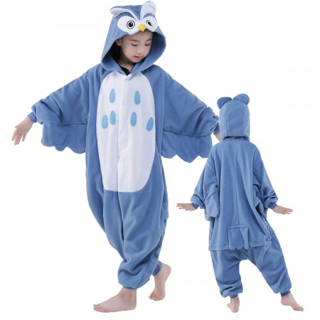 Blue Owl Onesie Costume Pajama Kids Animal Outfit for Boys & Girls