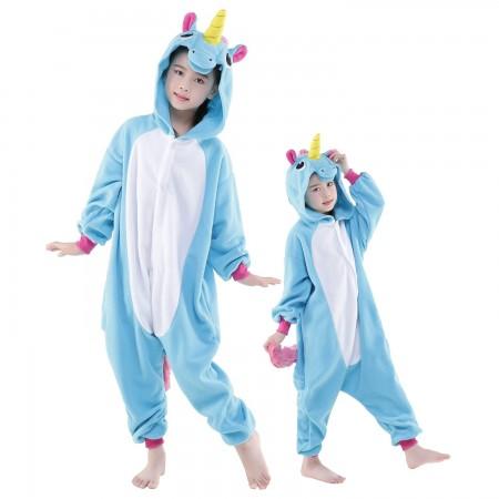 Kids Blue Unicorn Onesie Costume Pajama Animal Outfit for Boys & Girls