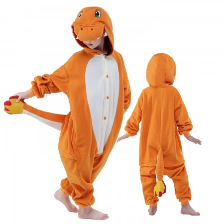 Kids Charmander Costume Onesie Pajama Animal Outfit for Boys & Girls