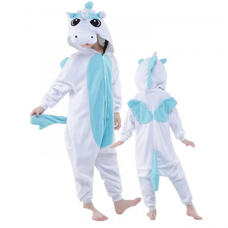 Kids Blue Pegasus Costume Onesie Pajama Animal Outfit for Boys & Girls