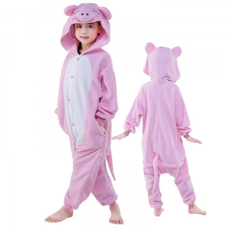 Kids Pink Pig Costume Onesie Pajama Animal Outfit for Boys & Girls