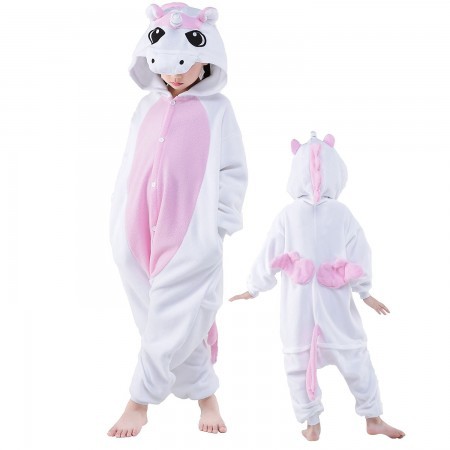 Kids Pink Pegasus Costume Onesie Pajama Animal Outfit for Boys & Girls