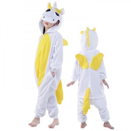 Kids Yellow Pegasus Costume Onesie Pajama Animal Outfit for Boys & Girls
