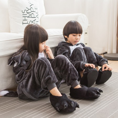Kids Wolf Costume Onesie Pajama Animal Outfit for Boys & Girls