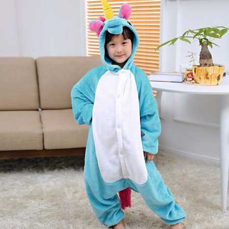 Kids Blue Unicorn Costume Onesie Pajama Animal Outfit for Boys & Girls