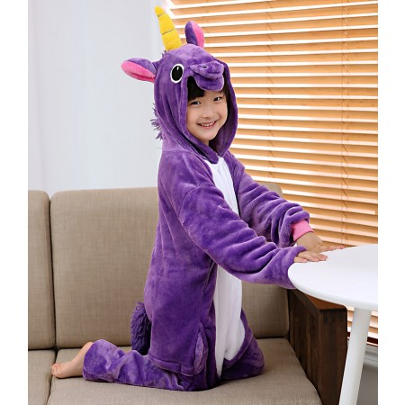 Kids Purple Unicorn Costume Onesie Pajama Animal Outfit for Boys & Girls