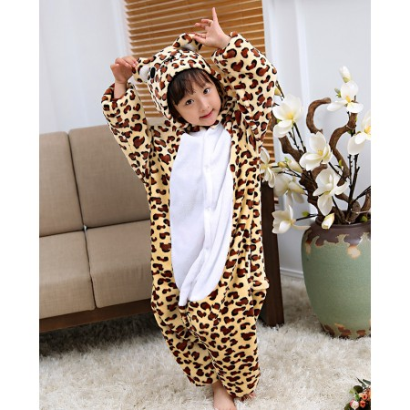 Kids Leopard Bear Costume Onesie Pajama Animal Outfit for Boys & Girls