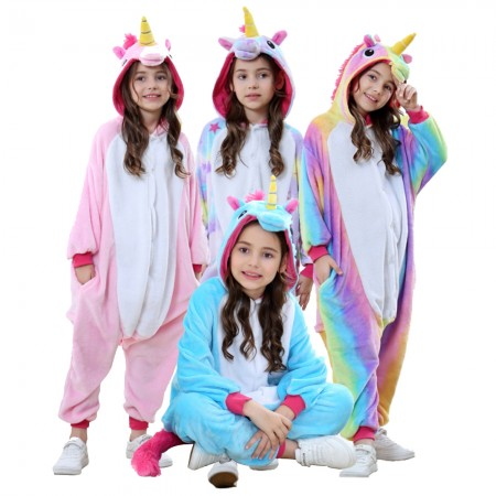 Kids Unicorn Onesie Pajama Animal Costume Outfit for Boys & Girls