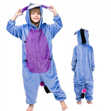 Kids Eeyore Costume Onesie Pajama Animal Outfit for Boys & Girls
