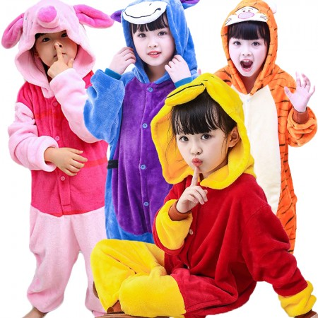 Kids Winnie The Pooh Piglet Tigger Eeyore Onesie Costume Pajama Animal Outfit for Boys & Girls